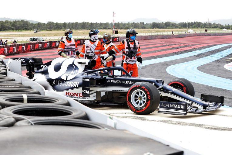 F1 | 角田裕毅、予選のクラッシュで最後尾スタートへ「縁石に乗りすぎた。ミスをしてチームに申し訳ない」/F1第7戦