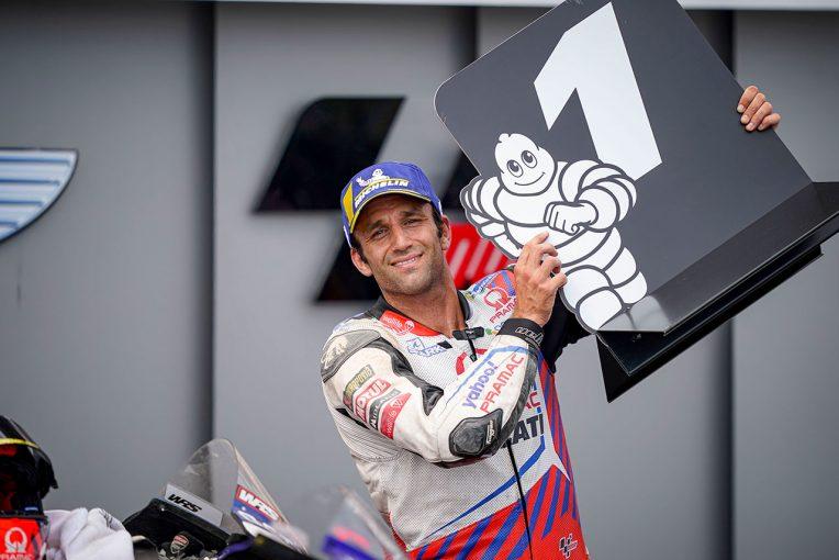 MotoGP   今季初ポール獲得のザルコ、最速タイム直後の転倒に「少しバンク角が深すぎた」/MotoGP第8戦ドイツGP予選トップ3コメント