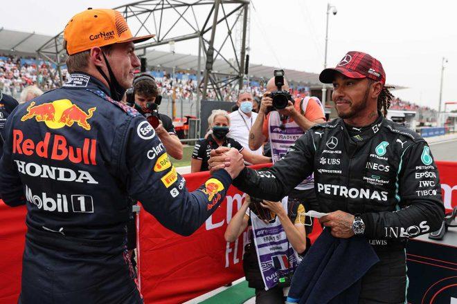 2021年F1第7戦フランスGP 予選後のマックス・フェルスタッペン(レッドブル・ホンダ)とルイス・ハミルトン(メルセデス)