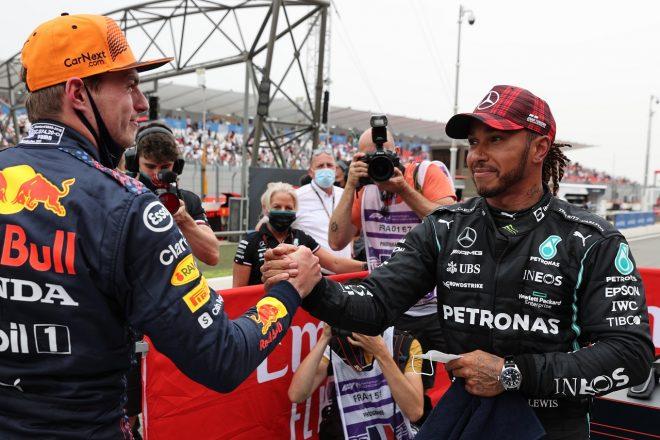 2021年F1第7戦フランスGP ルイス・ハミルトン(メルセデス)とポールポジションのマックス・フェルスタッペン(レッドブル・ホンダ)