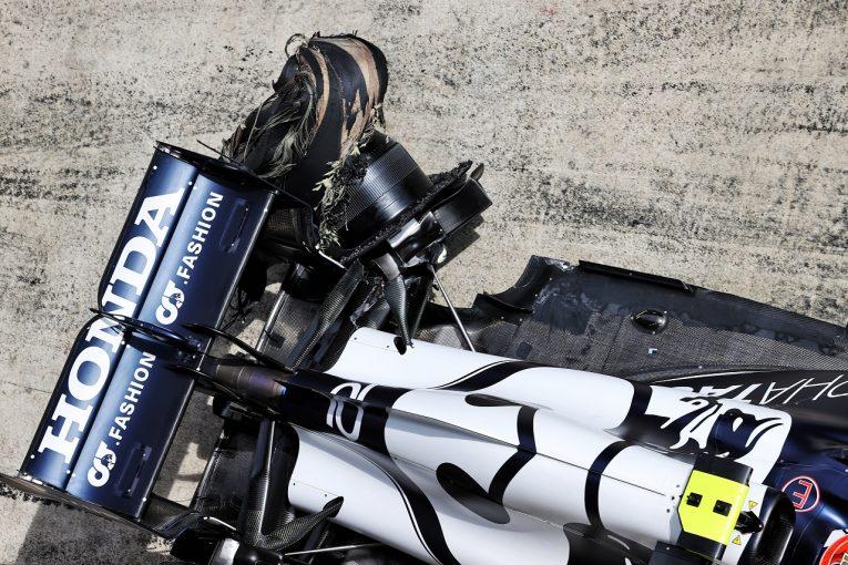 F1 | ガスリー、1周目のアクシデントでリタイア「パンクして2輪でピットに戻る羽目に」アルファタウリ・ホンダ/F1第8戦