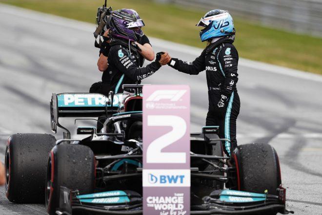 2021年F1第8戦シュタイアーマルクGP メルセデスのルイス・ハミルトンが2位、バルテリ・ボッタスが3位を獲得