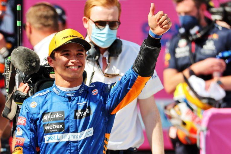 F1   ノリスが予選2番手、マクラーレンが9年ぶりのフロントロウ「PPから0.05秒差だなんて最高にハッピー」F1第9戦