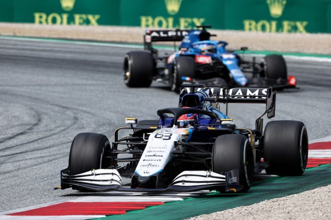 2021年F1第9戦オーストリアGP ジョージ・ラッセル(ウイリアムズ)とフェルナンド・アロンソ(アルピーヌ)