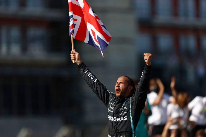 2021年F1第10戦イギリスGPでの勝利により、優勝回数を99回まで伸ばしたルイス・ハミルトン(メルセデス)