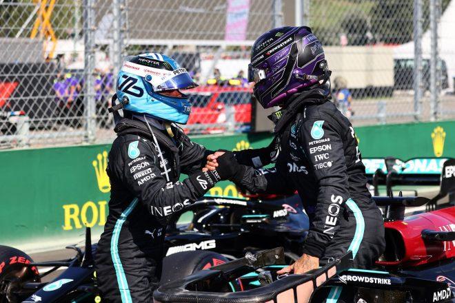 2021年F1第11戦ハンガリーGP予選 ルイス・ハミルトンとバルテリ・ボッタス(メルセデス)