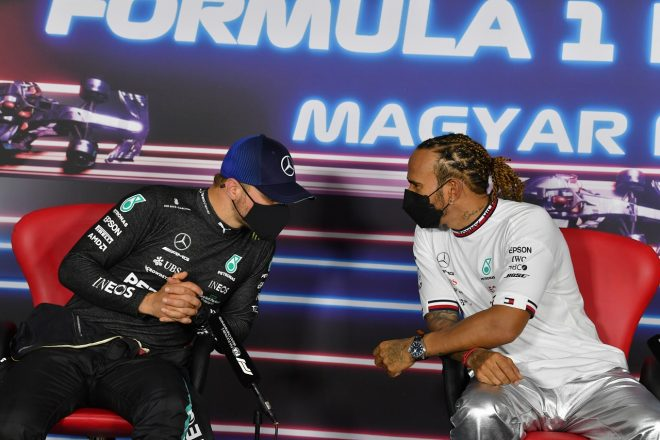 2021年F1第11戦ハンガリーGP予選後記者会見 ルイス・ハミルトンとバルテリ・ボッタス(メルセデス)