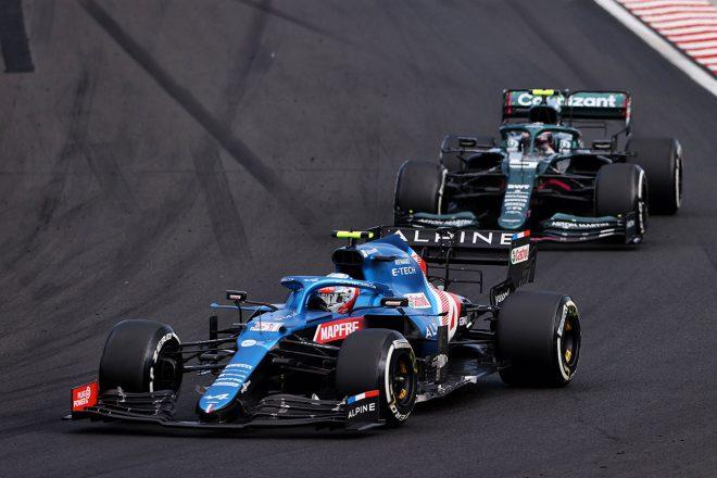 2021年F1第11戦ハンガリーGP エステバン・オコン(アルピーヌ)&セバスチャン・ベッテル(アストンマーティン)
