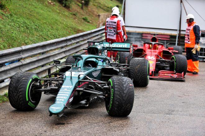 2021年F1第11戦ハンガリーGP ランス・ストロール(アストンマーティン)がシャルル・ルクレール(フェラーリ)に接触