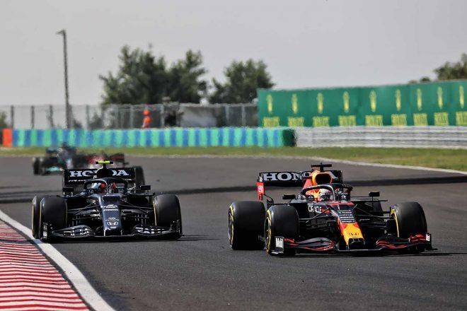 2021年F1第11戦ハンガリーGP マックス・フェルスタッペン(レッドブル・ホンダ)&ピエール・ガスリー(アルファタウリ・ホンダ)