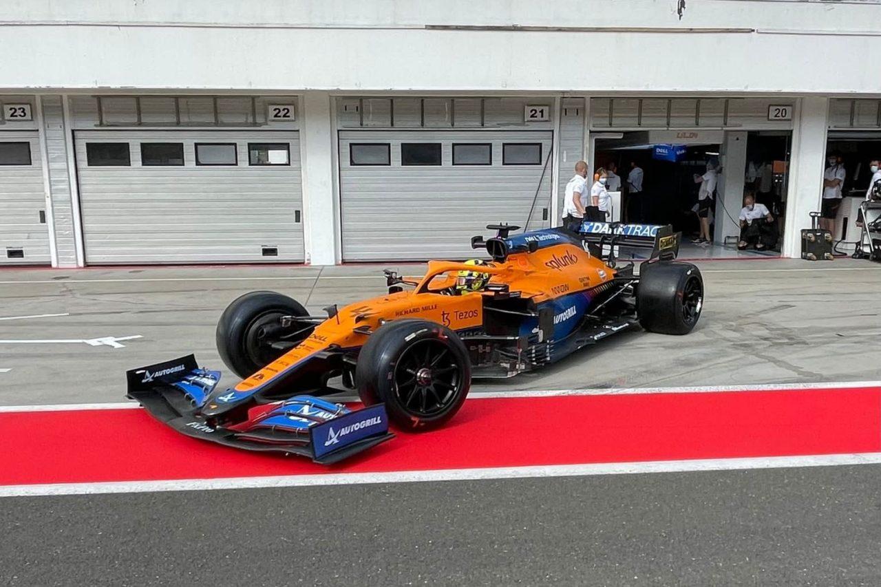 ランド・ノリス(マクラーレン)が18インチF1タイヤのテスト