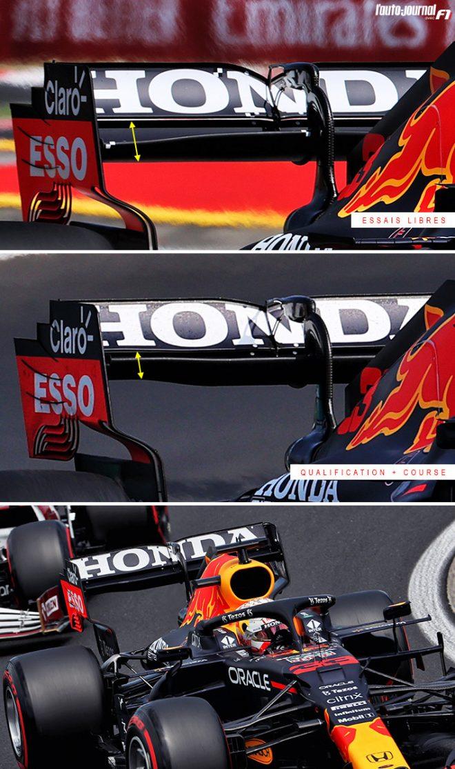 2021年F1第11戦ハンガリーGP レッドブルRB16Bリヤウイング比較