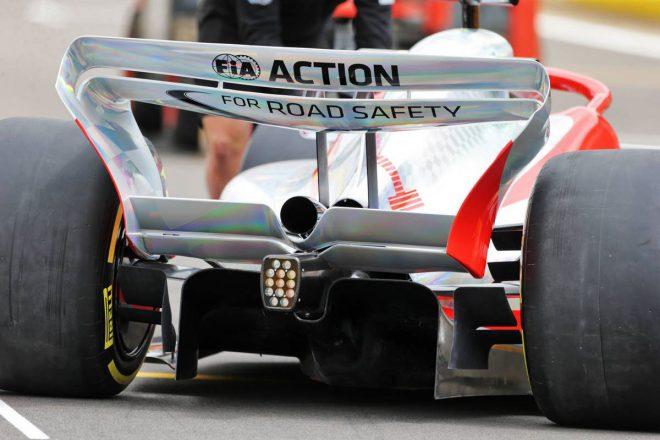 2021年F1第10戦イギリスGPで発表された2022年型F1マシンの実寸大モデル(リヤ部分)