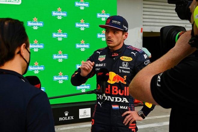 2021年F1第14戦イタリアGP 金曜予選後、フェリペ・マッサからインタビューを受けるマックス・フェルスタッペン(レッドブル・ホンダ)