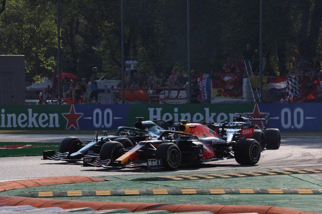 2021年F1第14戦イタリアGPスプリント予選 セルジオ・ペレス(レッドブル・ホンダ)とランス・ストロール(アストンマーティン)のバトル