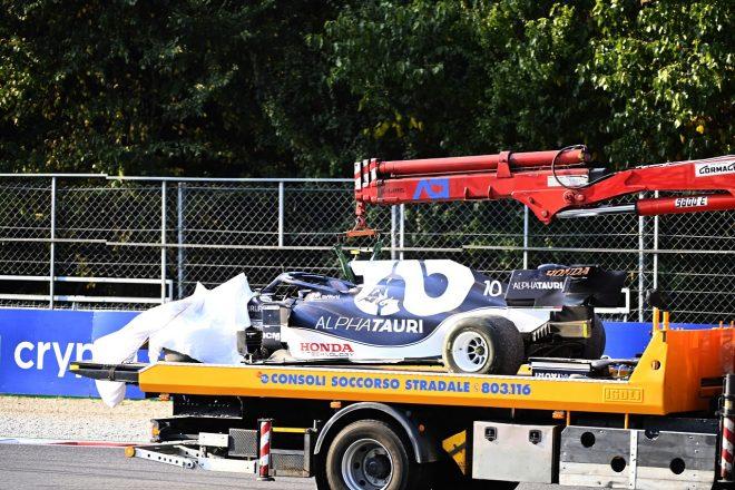 2021年F1第14戦イタリアGPスプリント予選 ピエール・ガスリー(アルファタウリ・ホンダ)がクラッシュ
