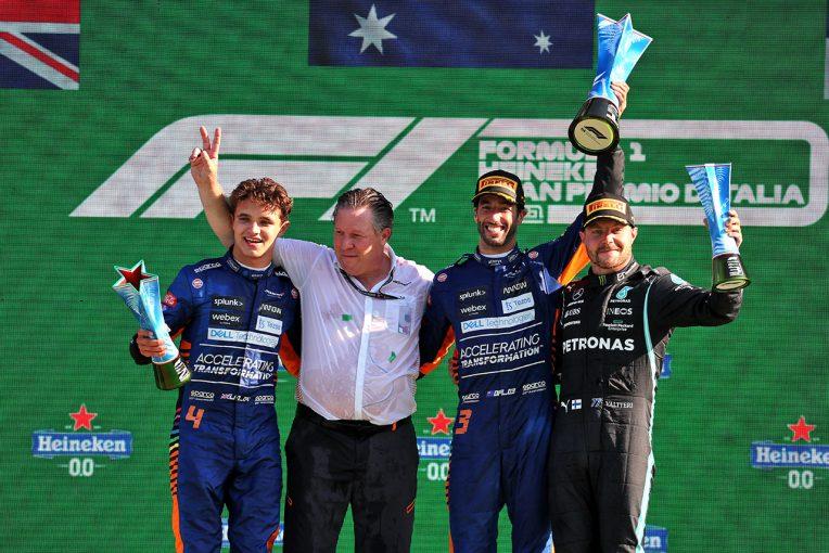 F1 | リカルドが移籍後初優勝、マクラーレンW表彰台。フェルスタッペンとハミルトンは接触リタイア【決勝レポート/F1第14戦】