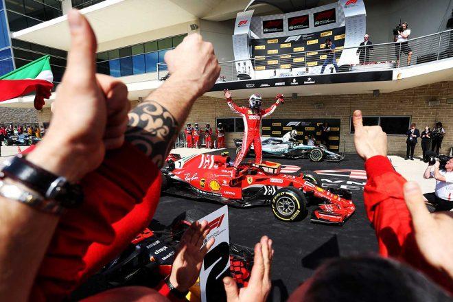 2018年アメリカGPで優勝を飾ったキミ・ライコネン(フェラーリ)