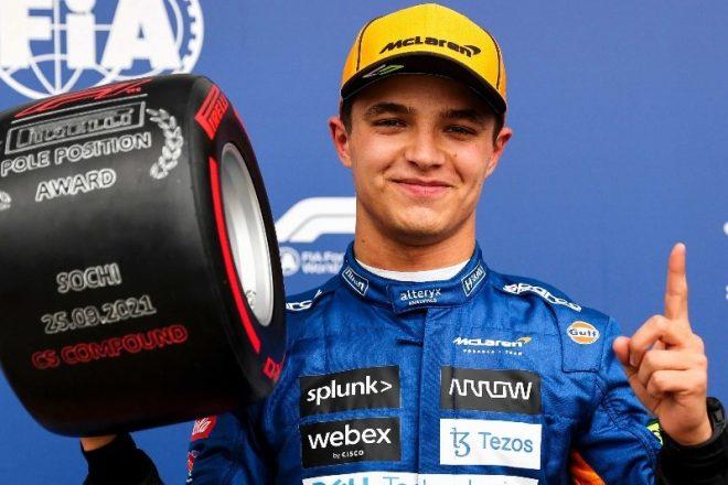 2021年F1第15戦ロシアGP ランド・ノリス(マクラーレン)がポールポジションを獲得