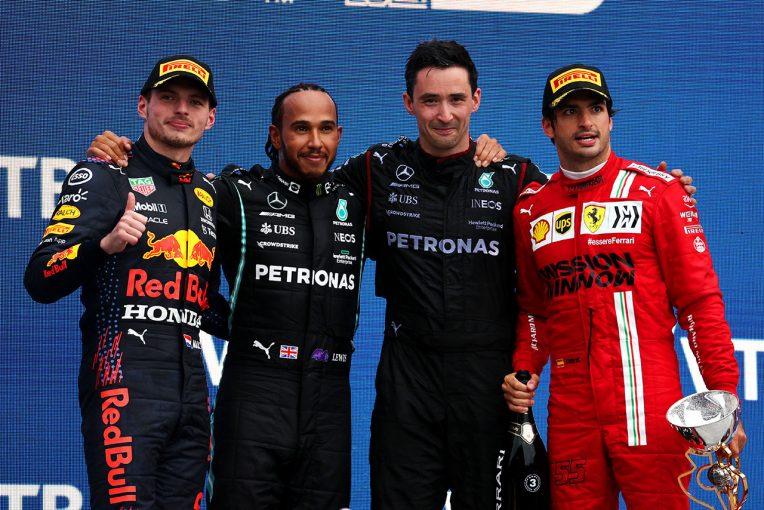 F1   ハミルトンが史上初の通算100勝目、フェルスタッペンは追い上げて2位。ノリスは雨に泣き7位【決勝レポート/F1第15戦】